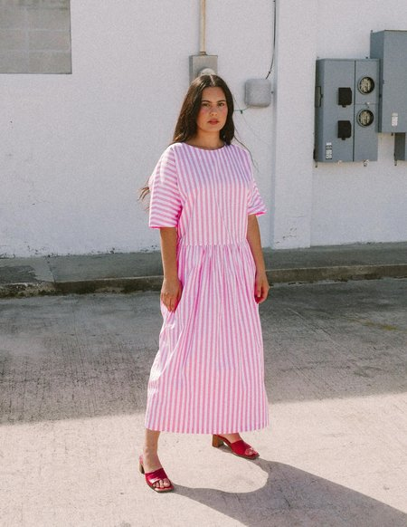 Mr. Larkin Maimie Dress - pink/white striped poplin