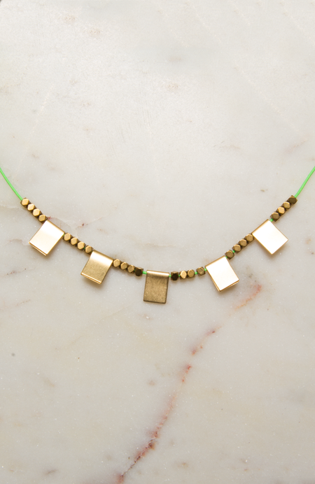Sandy Hyun Short Necklace with Brass Squares - Lime