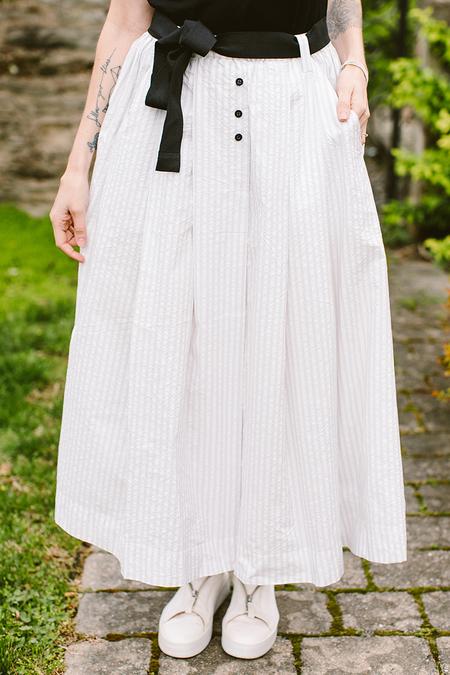 Les Filles Crisp Striped Skirt - White