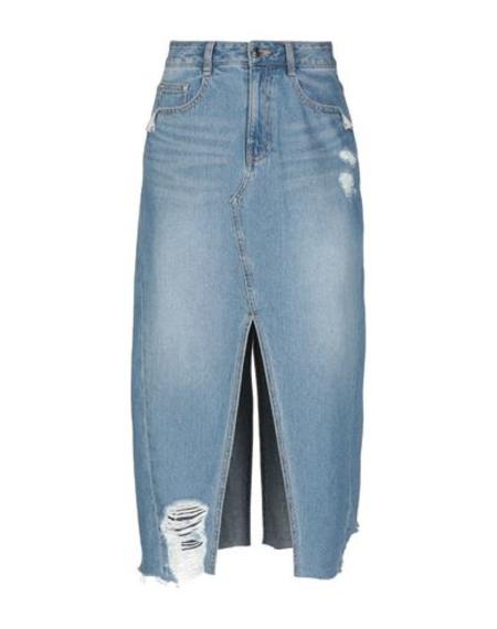 SJYP midi denim slit skirt with raw edge