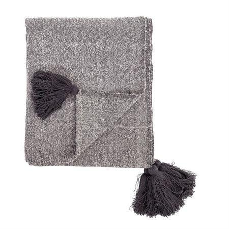 Bloomingville Woven Tassel Throw - grey/charcoal