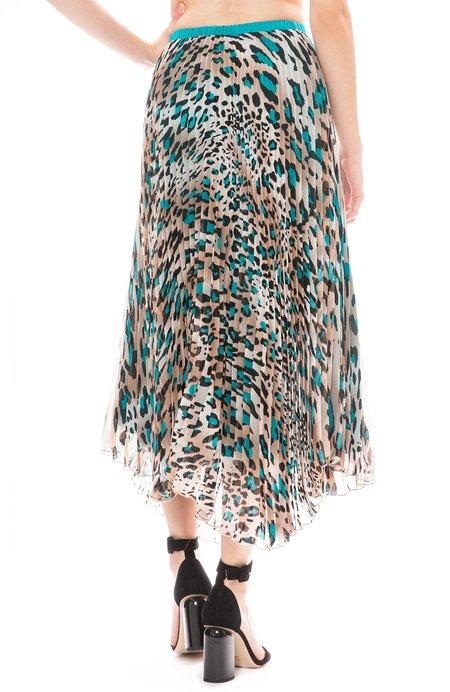 Loyd/Ford Pleated Midi Skirt - TEAL LEOPARD