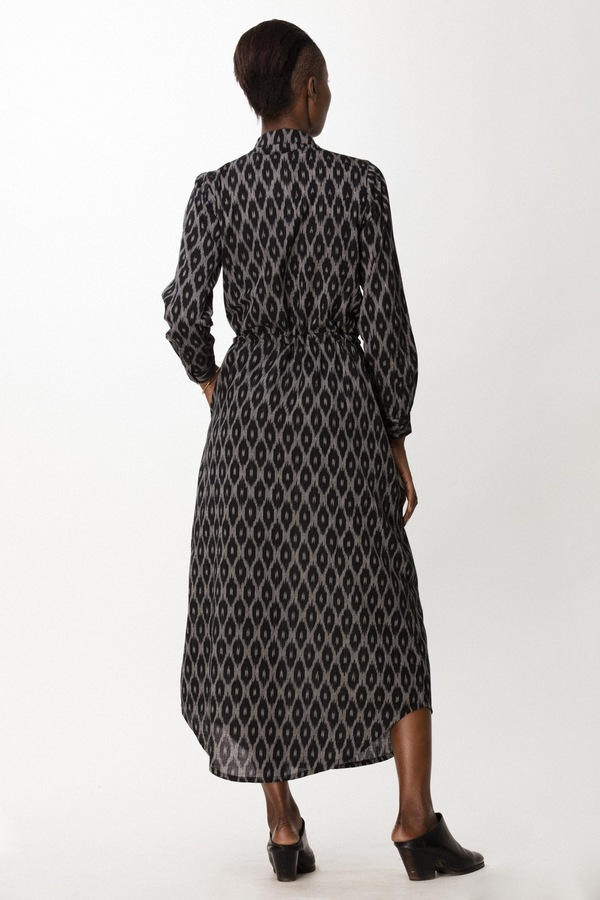 Osei-Duro Casta Dress in B&W Ikat