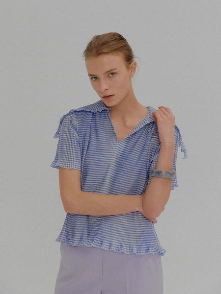4ec36bf1bc90c6 ... EENK Mona Pleated Short Sleeve Top - Blue Check