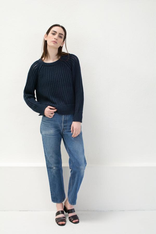 Micaela Greg Navy Chain Sweater