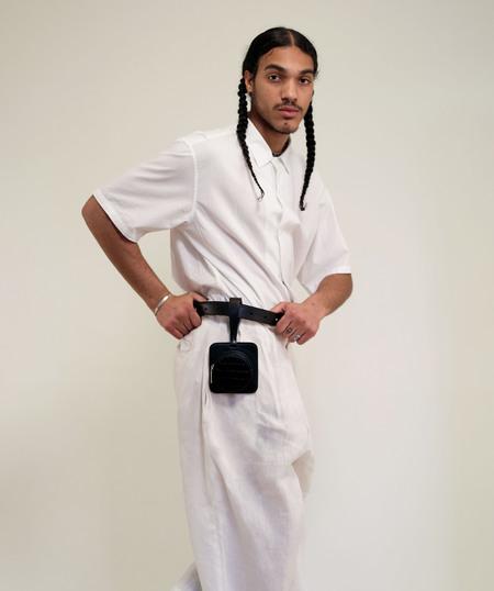 unisex ASHYA Pana Pouch with belt - Onyx Croc
