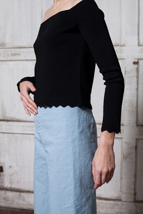 Apiece Apart Long Sleeve Off Shoulder Top - black
