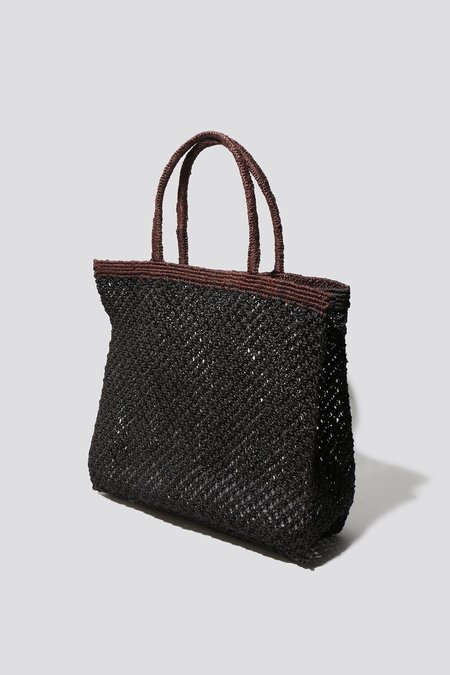 maison bengal Contrast Woven Tote - Black