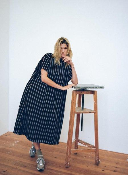 Priory T Shirt Dress - Striped Poplin Navy/Mix