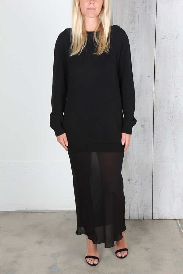 ALEXANDER WANG KNIT PULLOVER DRESS WITH SILK SKIRT