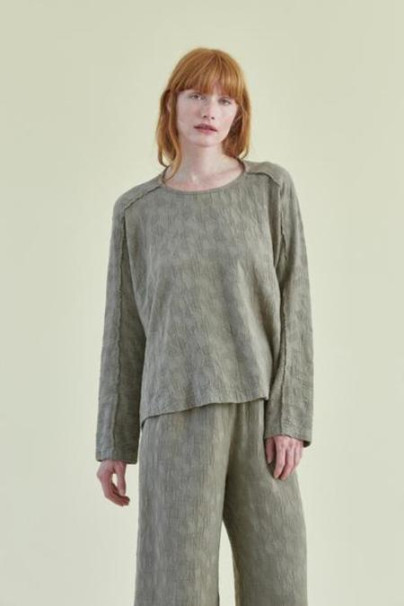 Black Crane Jacquard Top - Sand