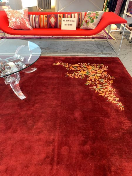 The Rug Affair vintage Art Deco Chinese Nichols Rug - Red Floral