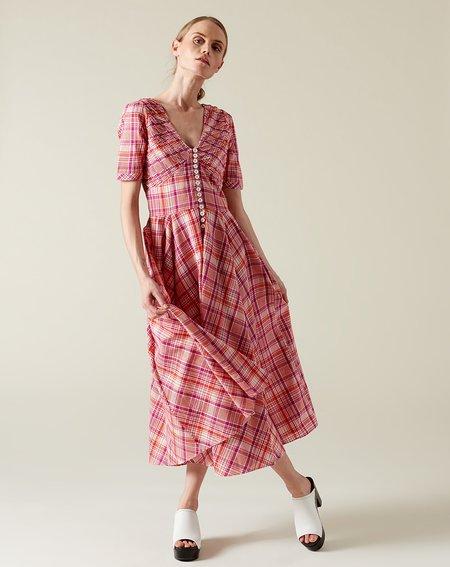 No.6 Paolo Circle Dress - Red/Purple Plaid