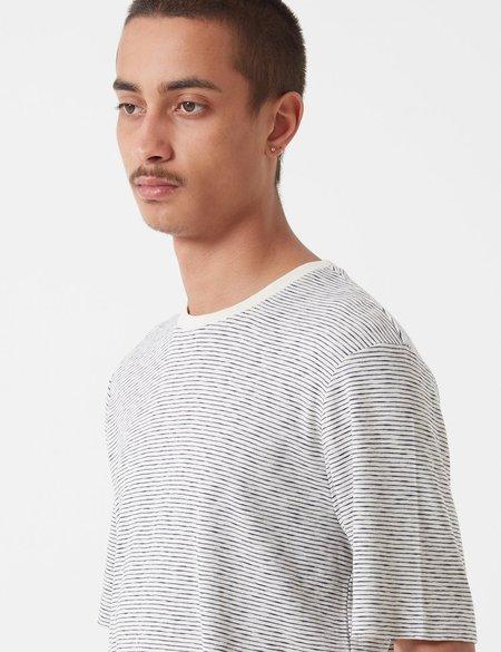 Folk Fine Stripe T-Shirt - Ecru/Navy Blue