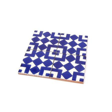 Made Solid Talavera Tile Coaster Set - Blue/White