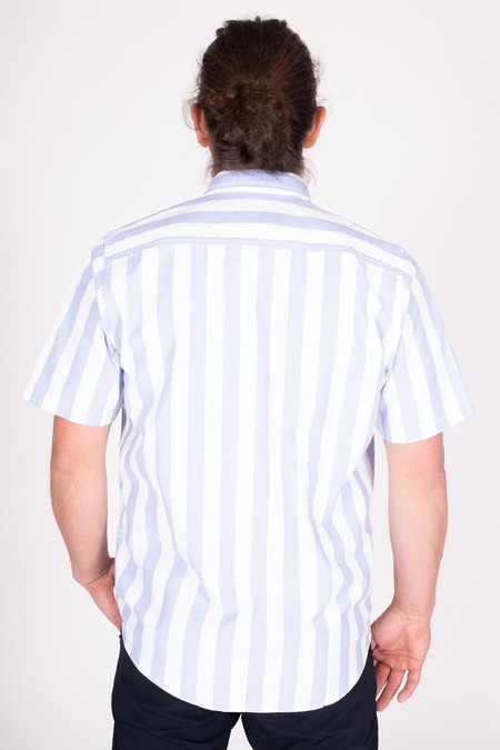 Norse Projects Theo Oxford S/S - Pale Blue Wide Stripe