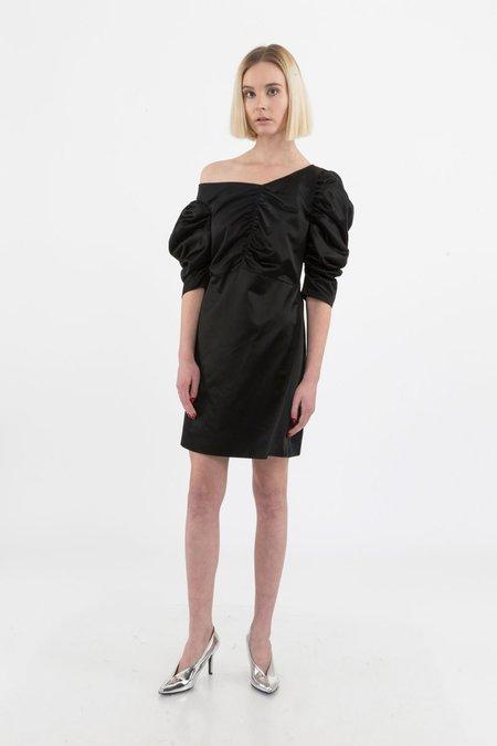 ISA ARFEN Off Shoulder Gathered Dress - Black