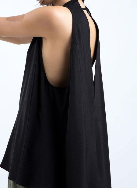 KAAREM Tao Low V Back Silk Tank Top - Black