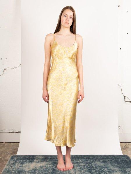 Ganni Printed Heavy Satin Slip Dress - Tapioca