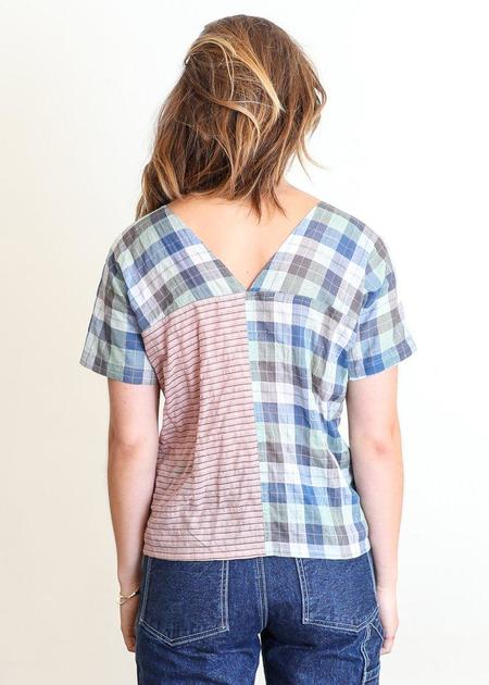 Gravel & Gold Cielo Mixed Plaid Top