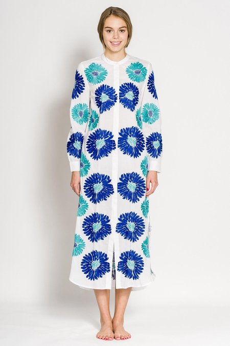 Nimo With Love Goldeneye Kaftan - white/blue/turquoise