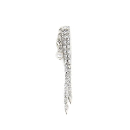 Joomi Lim Crystal Chain & Pearl Hair Slide - Rhodium/Crystal