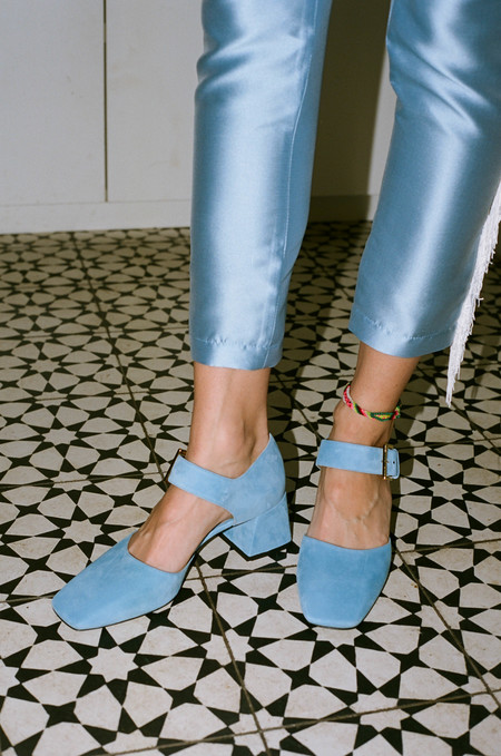 Suzanne Rae Maryjane with Bow - Suede Light Blue
