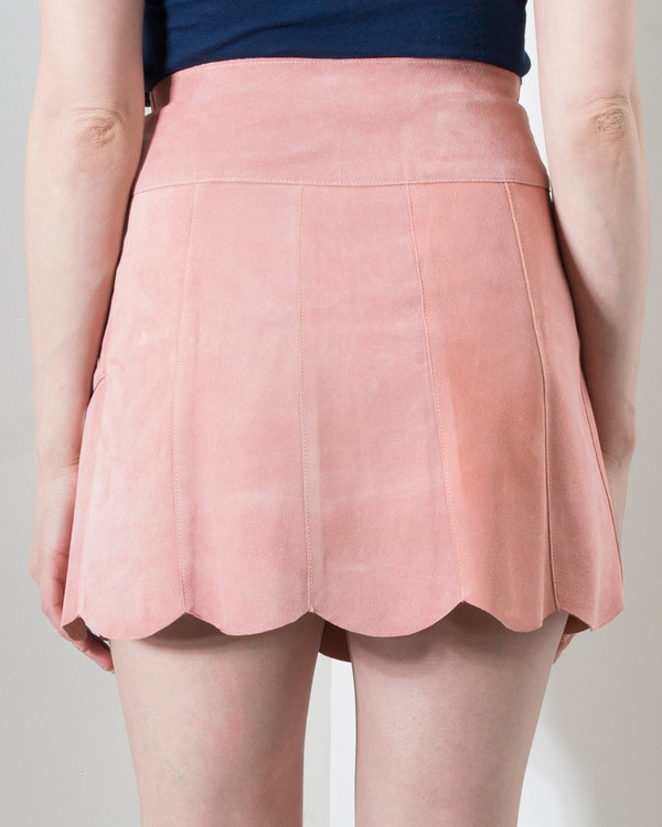 Stoned Immaculate Marcia Suede Petal Skirt in Rose