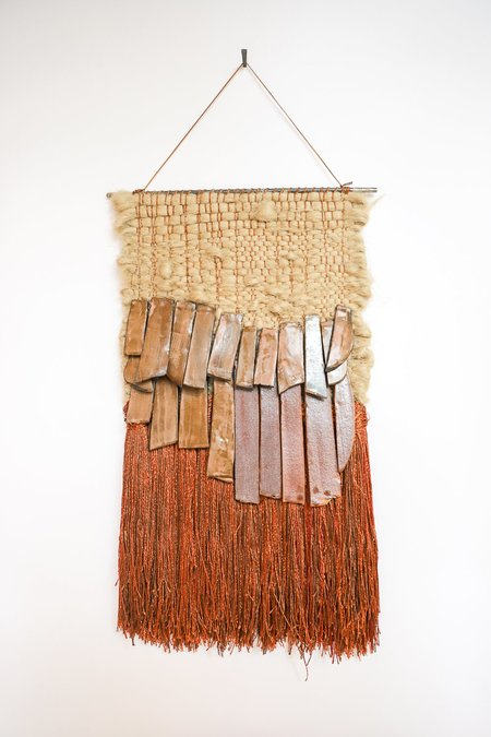 All Roads Brown Ceramic and Red-Brown Fringe Jute Wall Hanging