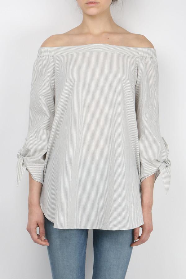 Tibi Stripe Shirting Off Shoulder Tunic