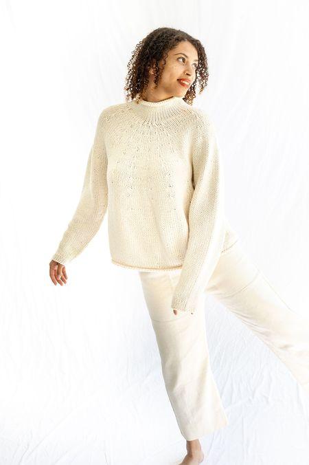 Lauren Manoogian Hand Knit Yoke Rollneck Sweater - Raw White