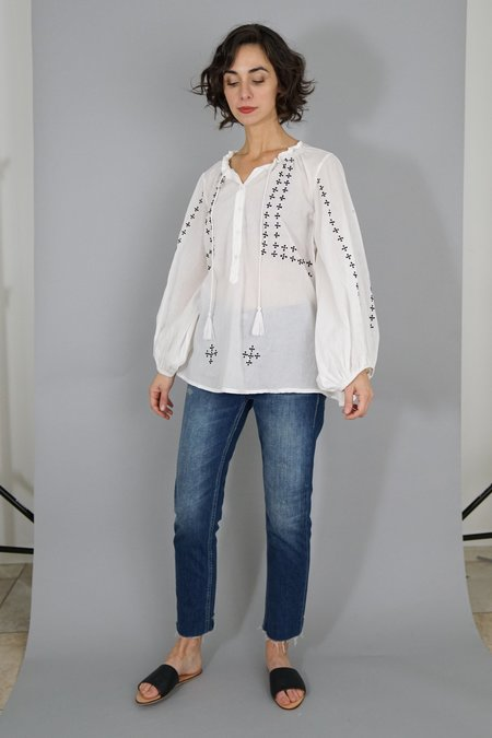 Emerson Fry Bardot Top - Embroidered White