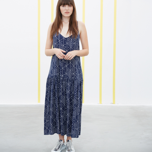 Ali Golden DROP-WAIST DRESS - NAVY PRINT