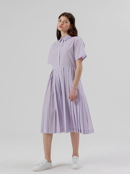 DESSERT Pleats Shirt Dress - Light Purple Stripe