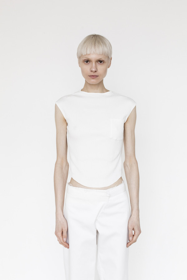 Assembly Cotton Ribbed Muscle T - White
