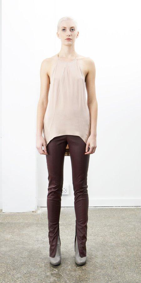 SCHAI Zip Stretch Leather Leggings - Wine Stain