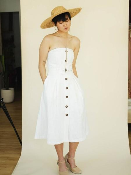 Moon River Strapless Belted Midi Dress - Ivory