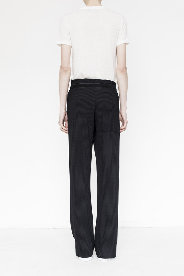 Assembly Rib Knit Simple Pant - Black