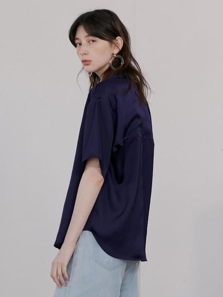 ROCKET X LUNCH Back Slit Point Shirt - purple