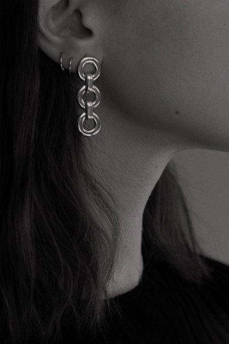 Alta Ora Small Circle Drop Earrings - Silver