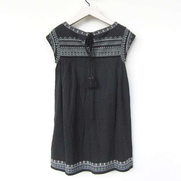 Star Mela Allie embroidered dress - faded black