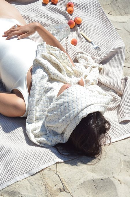 By Signe Beach Towel Waffle Cotton - Beige