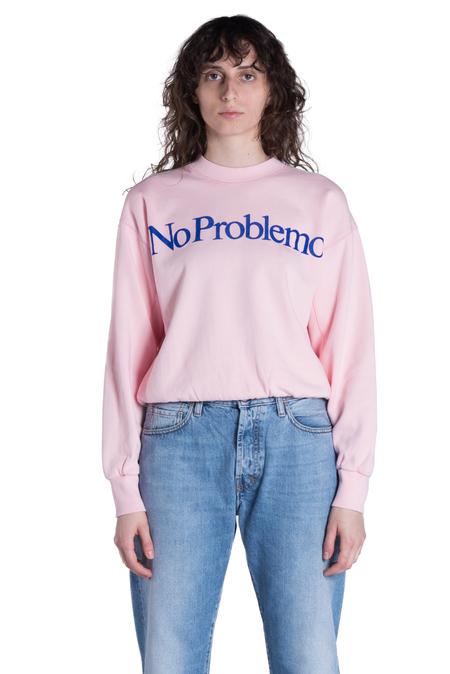 aries no problemo flocked crewneck sweatshirt - pink/blue