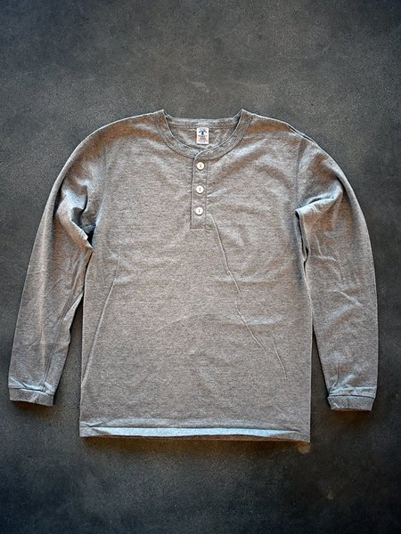Velva Sheen Tubular Long Sleeve Henley - Heather Grey