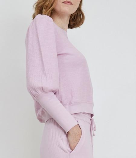 Apiece Apart Olympio Puff Sleeve Sweatshirt - Lilac