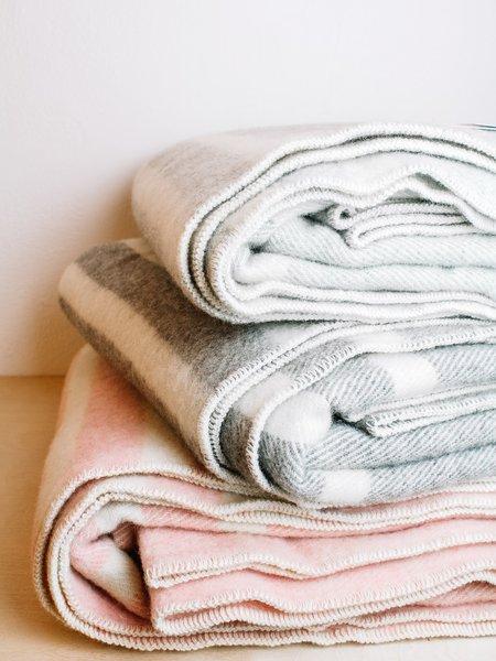 MacAusland Queen Wool Blanket - Light Grey w/ Cream Stripe