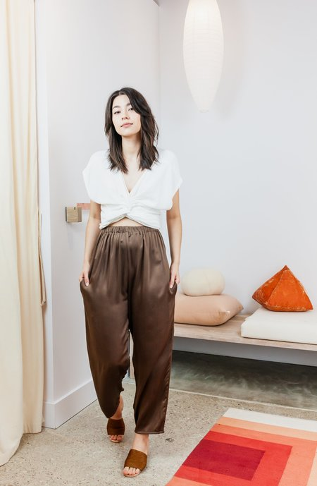 Miranda Bennett Silk Charmeuse Hadid Pant - Badlands