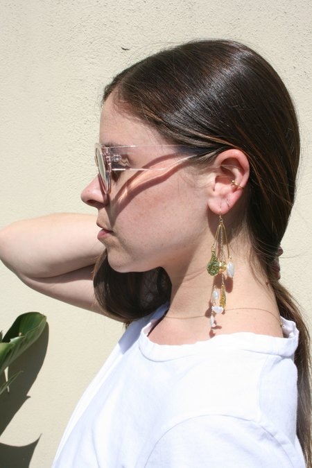 AMBER SCEATS Donatello Earrings - Pearl and Charm
