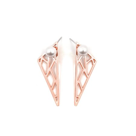 Joomi Lim Pearl Stud Earrings with Cutout Triangle Backs - Rose Gold/White