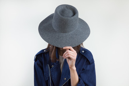 Clyde Wide Brim Gaucho Hat in Charcoal Grey Wool